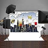 Daniu Photo Backdrops SuperHero City Children Cartoon Photography Digital Background Vinyl 7x5ft 210x150cm Daniu-dn004