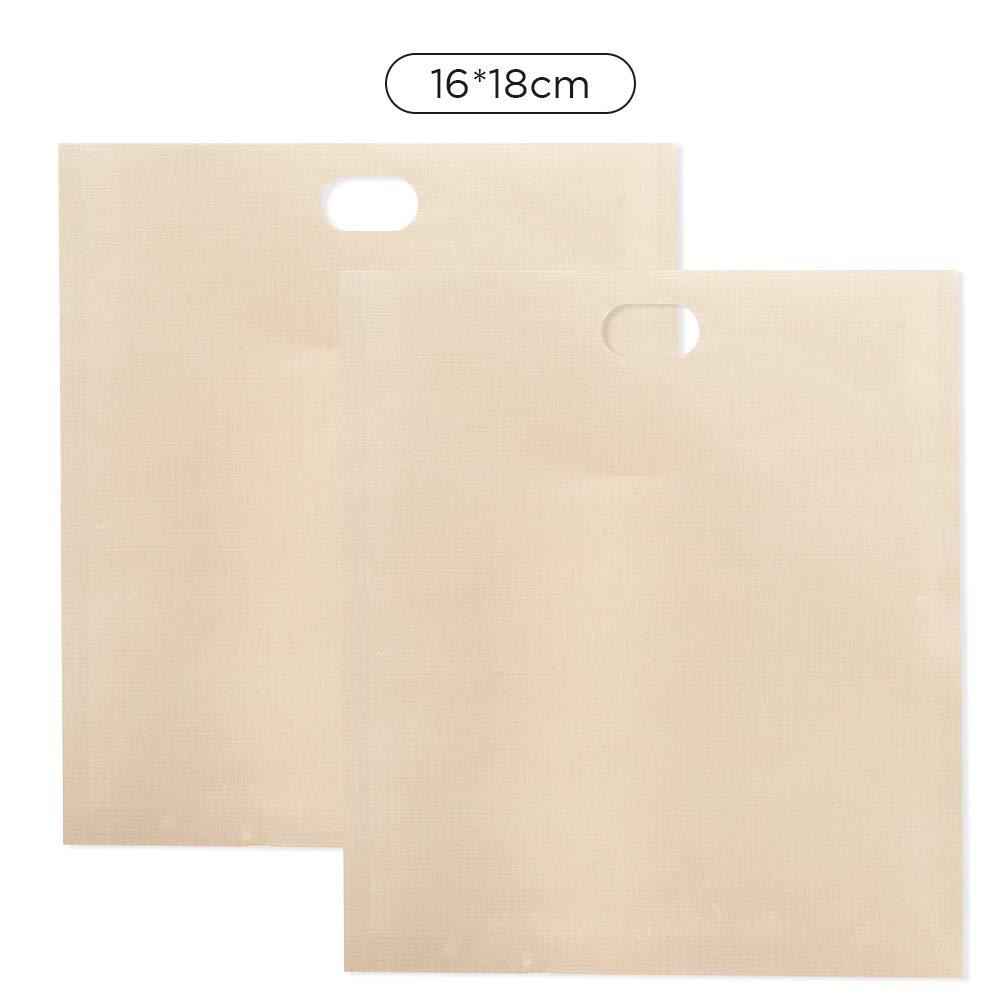 2 bolsas de tostadora para sándwiches de queso con rejilla, bolsas de comida para tostadas de horno fáciles de reutilizar. 16 * 18cm beige