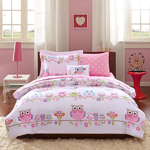 Mi-Zone Kids Wise Wendy Full Comforter Sets for Girls - Pink, Owl – 8 Pieces Kids Girl Bedding Set – Ultra Soft Microfiber Childrens Bedroom Bed Comforters