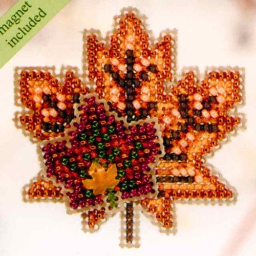 Maple Leaves Beaded Counted Cross Stitch Ornament Kit Mill H