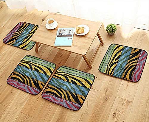 Printsonne Universal Chair Cushions Zebra Hardwood TimrCtemporary Artwork Personalized Durable W15.5 x L15.5/4PCS Set (Stools Zebra Striped Bar)
