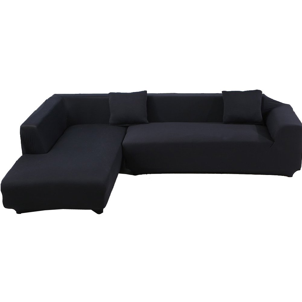 WOMACO L Shape Sofa Covers Sectional Sofa Cover 2 pcs Stretch Sofa Slipcovers for L-Shape Couch (L-Shape 2+2 Seats, Black)