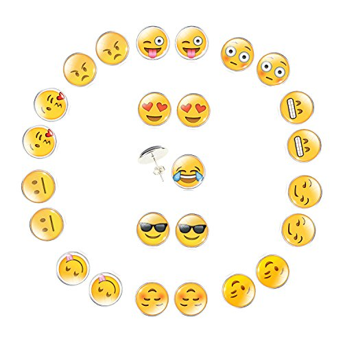 Emoji Face Pin-Back Earrings Set - 12 Pair Assorted Smiley Emoticon Earrings