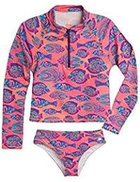 Big Girl Long Sleeve Rashguard UV Protection   Traje de Baño Para Niñas