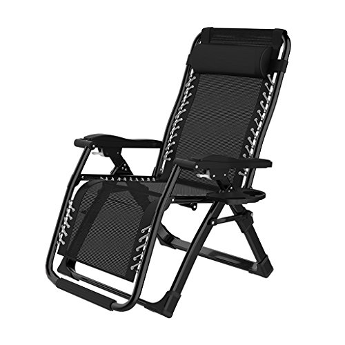 Ping Bu Qing Yun Folding Recliners Chair Office Portable Balcony Elderly Leisure Beach Accompanying Outdoor Lounger Lunch Siesta Double Alloy Lock Deck Chair (Color : B)