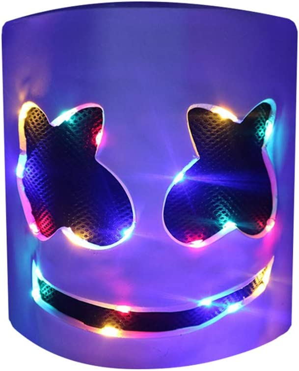 Music Festival Headgear Prop Latex Full Head Hat Pure Compression Halloween DJ LED Marshmallow Cover Marshmellow Carnival Accessories Carnaval Party Light Up Mask Costume Cosplay