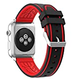 Sport Band for Apple Watch 42mm, Honest kin Soft Silicone Strap Replacement iWatch Bands for Apple Watch Sport, Series 3, Series 2, Series 1,Edition Black/Red