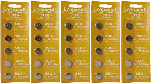 LOOPACELL 25 Pieces 390/389 SR54/SR1130W Silver Oxide Watch Batteries