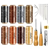 FEPITO 21pcs Leather Waxed Thread 8 Color 264 Yards