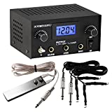 power TattooStar Dual Digital Tattoo Power Supply with Foot Pedal and 2 Clip Cords, Black Color
