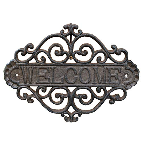 Sungmor Vintage Cast Iron Flower Shape Wall Mount Welcome Sign | Wall Decor Welcome Tag | House Plaque Garden Bar Cafe Store Gate Door Sign Wall Mount Decoration