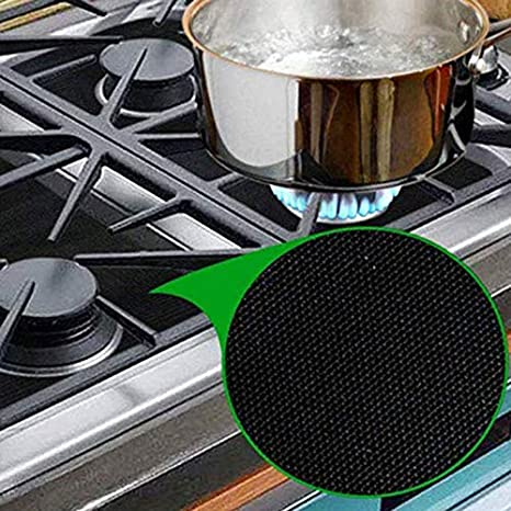 Amazon Com Non Stick Gas Stove Burner Covers Gas Range Protectors Glass Hob Or Cooker Burner Covers 0 2mm Double Thickness Reusable And Non Stick Top Liner Stove Easy Clean Square 4 Pack Black Kitchen
