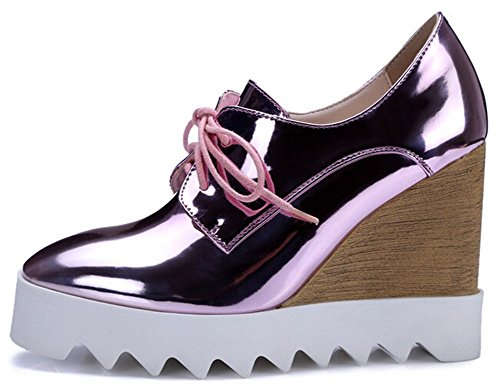 Sneakers Platform Pink Womens Shoes Lace IDIFU Up Heel Dressy Wedge High Sngq4