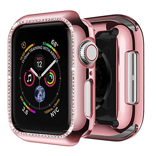 (amBand Case Compatible with Apple Watch 38mm, Crystal Frame Screen Protector Compatible for iWatch Bling Band Series 1/2/3 Rose Gold)
