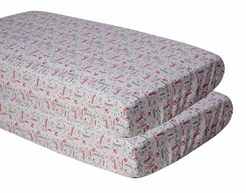 (Bacati Muslin 2 Piece Crib Sheets, Baseball/Red/Grey )