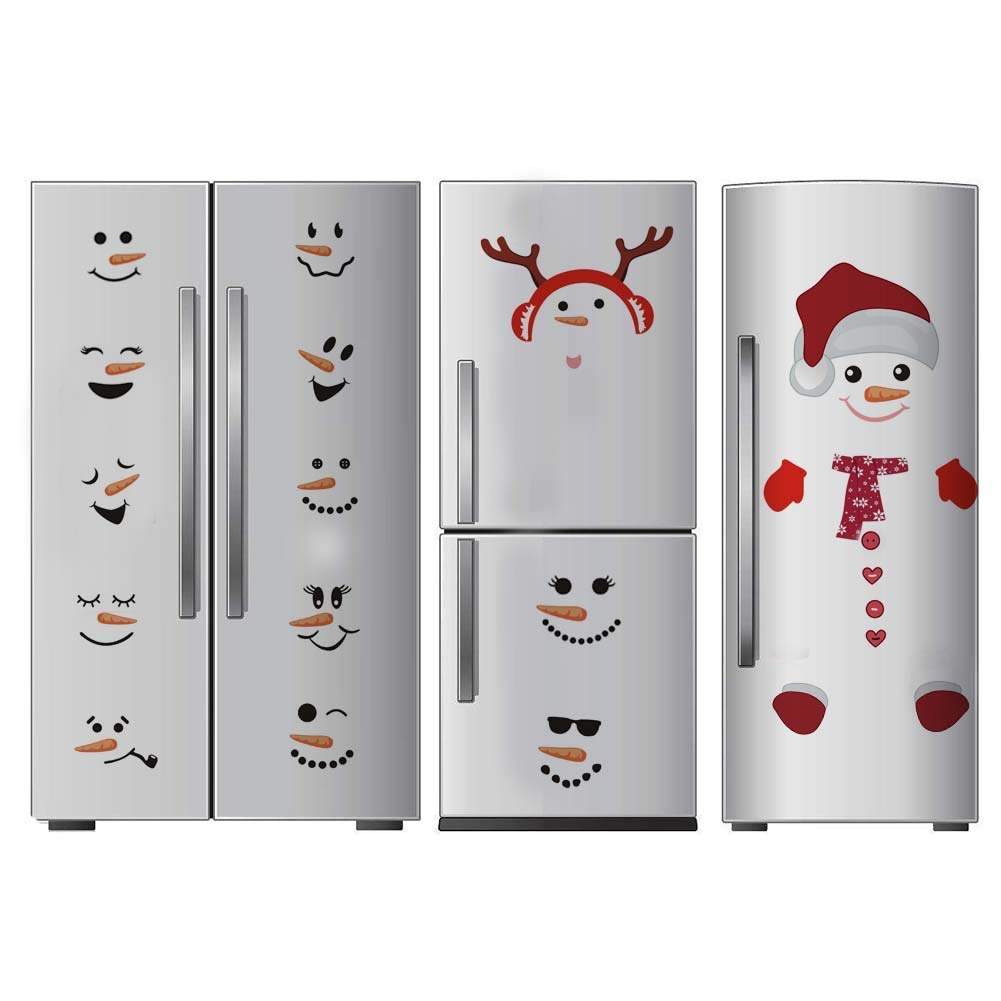 TOARTi Antlers Snowman Wall Decal  Christmas Sticker for Fridge Window Cling Decal  Vinyl Santa Claus Wall Decal Lovely Snowman Face Art Wall Decor  Home Decorations