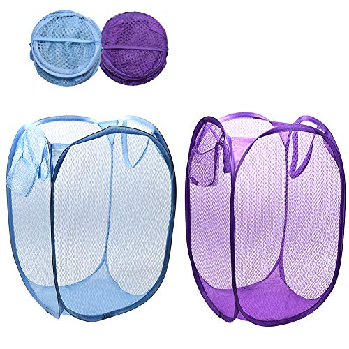 (Wecando Foldable Pop-Up Mesh Laundry Hamper with Side Pocket Clothes Laundry Basket Storage Bag with Carry Handles for Dirty Clothes (2 Pack))