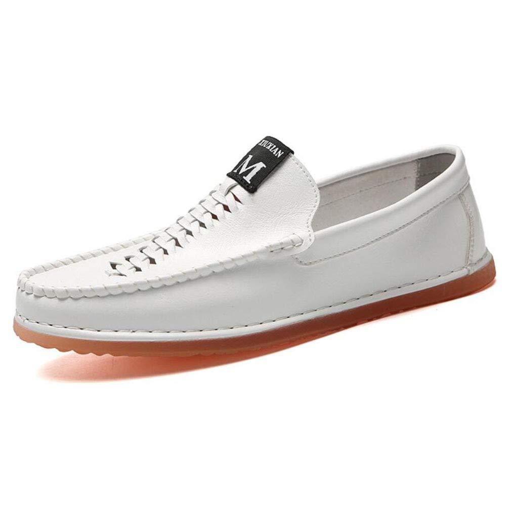 YAN Männer Schuhe Mikrofaser Slip on Casual Fahren Schuhe Smart Fashion Loafers 2018 Neue Casual Party & Abend im Freien (Farbe : Weiß, Größe : 43)