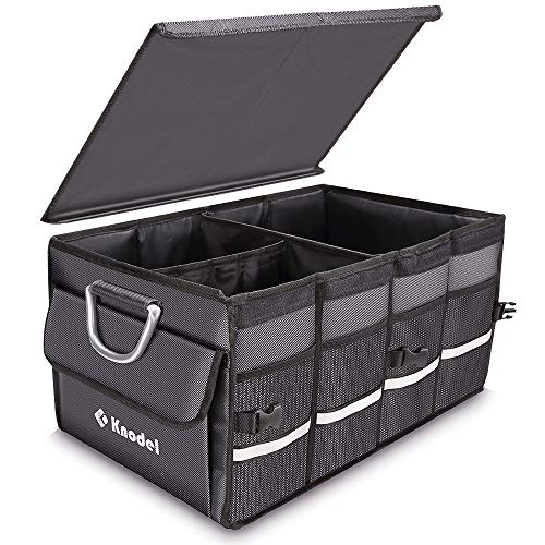 Knodel Sturdy Car Trunk Organizer with Foldable Cover, Heavy Duty Collapsible Cargo Storage Container, Multipurpose Portable Storage Bin and Carrier for Car, Waterproof (Gray)