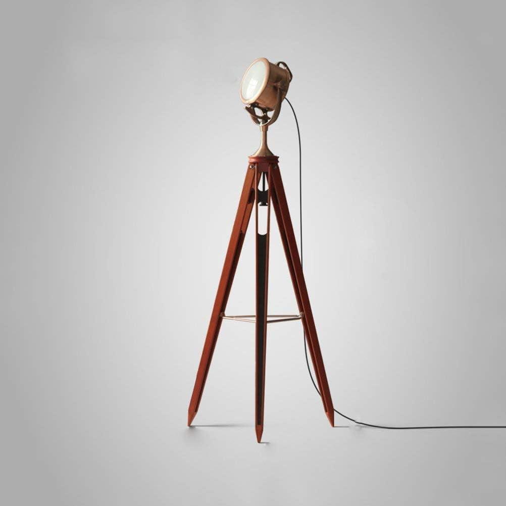 GUOXY Lámpara de Pie, Elegante Vintage Retro Fotografía Industrial Estudio Estilo de Estudio Trípode Lámpara de Pie de Madera Y Diseño de Lentes Heladas Rojo - Iluminación de Accesorios de Diseño