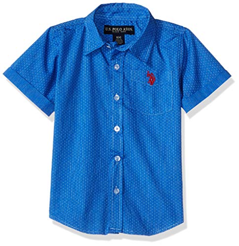 U.S. Polo Assn. Boys' Little Short Sleeve Striped Woven Shirt, Blue Hill 7