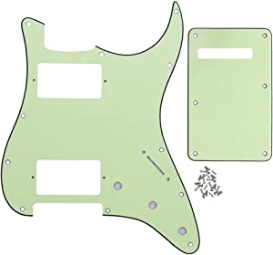 IKN 11 Hole Strat HH Pickguard Tremolo Cavity Cover w/Screws for Standard Strat Modern Style Big Apple Guitar Replacement, 3Ply Mint Green