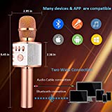 BONAOK Wireless Bluetooth Karaoke Microphone,3-in-1 Portable Handheld karaoke Mic Home Party Birthday Speaker Machine for iPhone/Android/iPad/Sony,PC and All Smartphone(Rose Gold)