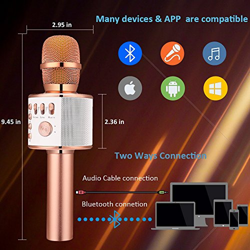 BONAOK Wireless Bluetooth Karaoke Microphone, Easter Gift 3-in-1 Portable Hand Speaker for iPhone/Android/iPad/Sony,PC and All Smartphone(Rose Gold) - Image 1