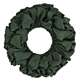VHC Brands Christmas Holiday Decor - Burlap Round Wreath, Green, 20'' Diameter