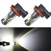 JDM ASTAR Extremely Bright H11 CREE LED Bulbs w/ Reflector Mirror for DRL or Fog Lights, Xenon White