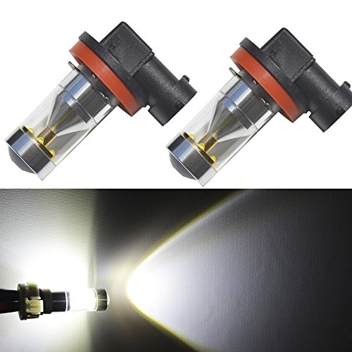 JDM ASTAR Extremely Bright H11 LED Fog Light Bulbs w/ Reflector Mirror for DRL or Fog Lights, Xenon White