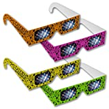 Rainbow Symphony Fireworks Glasses - Neon Lazer Viewers, Package of 50