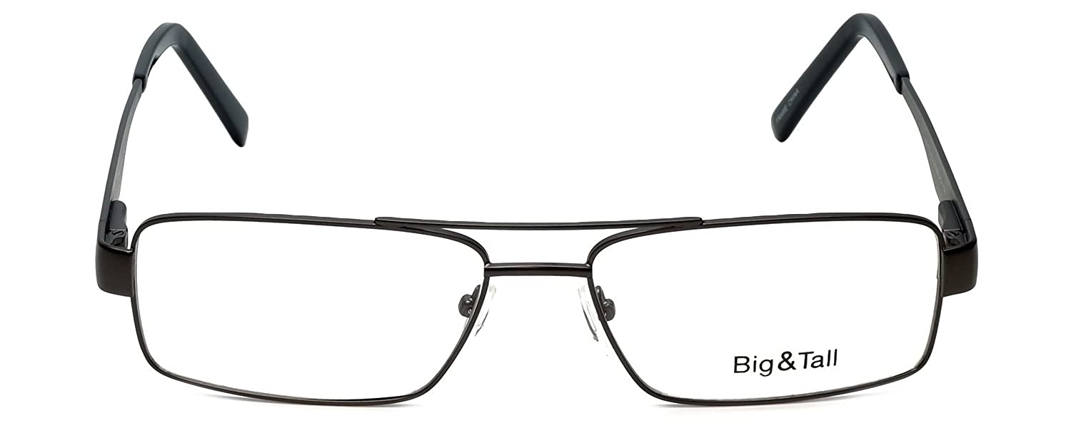 afaf5c677c9 Amazon.com  Big and Tall 2 Designer Eyeglasses in Gun-Black +0.50  Clothing