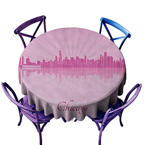 ONECUTE Indoor/Outdoor Round Tablecloth,Chicago Skyline United States Scenery in Soft Tones Urban Downtown Illustration,for Events Party Restaurant Dining Table Cover,63 INCH Pale Pink Fuchsia (Best Spanish Restaurants In Chicago)