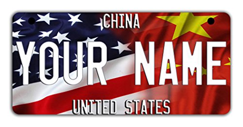 BleuReign(TM Personalized Custom Name Mixed USA and China Flag Motorcycle Moped Golf Cart License Plate Auto Tag ()