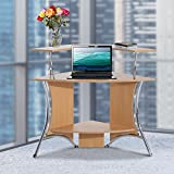 Corner Computer Desk Workstation 2-tire Storage Shelf Study Writing Home Office