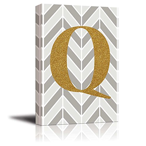 The Letter Q in Gold Leaf Effect on Geometric Background Hip Young Art Decor