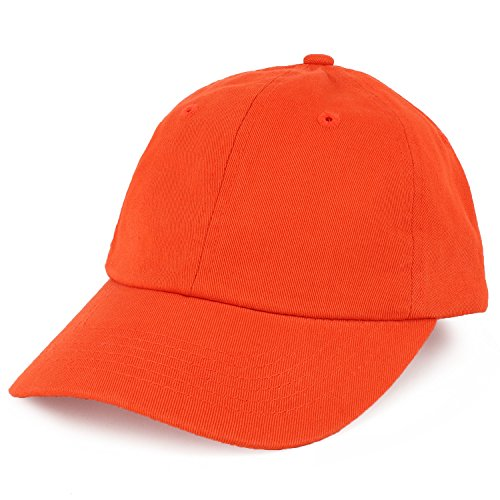 Trendy Apparel Shop Youth Small Fit Bio Washed Unstructured Cotton Baseball Cap - Orange