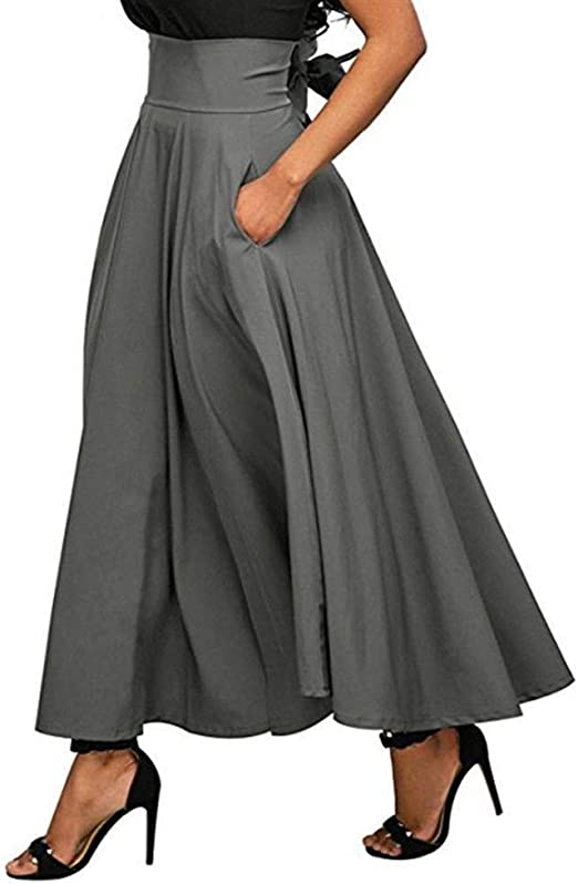 Huisongda Falda de Tobillo for Mujer, Bolsillo Transpirable, Falda ...