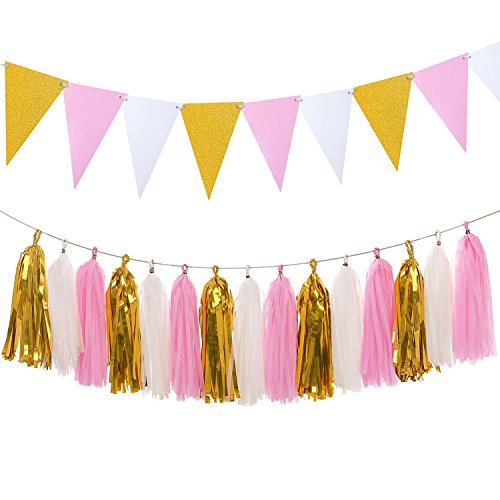 Banner Photo Paper (Glitter Triangle Flags Paper Pennant Banner 8.5 Feet & Tissue Paper Tassels Garland 15 pcs for Baby Shower, Wedding, Bachelorette Party Decoration, Glitter Gold+Pink+White)