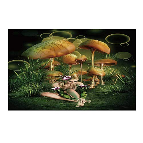 - YOLIYANA Mushroom Durable Door Mat,Fairy Woman in Enchanted Forest Elf Pixie Fungus Growth Flowers Grass for Home Office,17.7