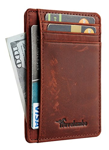 - Travelambo Front Pocket Minimalist Leather Slim Wallet RFID Blocking Medium Size(crazy horse reddish brown)