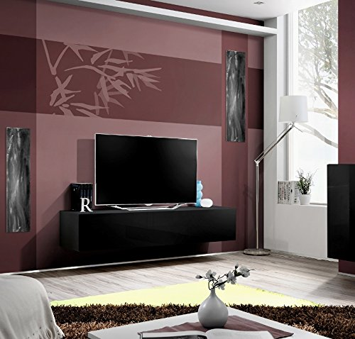 Seattle TV Stand for up to 70' TVs – Total width of the stand 63 inches / High Gloss TV unit / European Design Floating TV stand / Modern TV Unit (Black & Black)