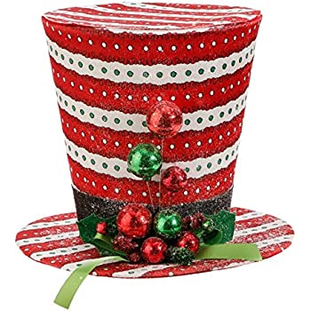 Amazon Com Northlight Lighted Black Tinsel Snowman Top Hat  - Christmas Tree Top Hat