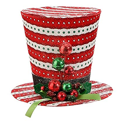 raz imports top hat christmas tree topper red white striped with holly and ball decor 115quot