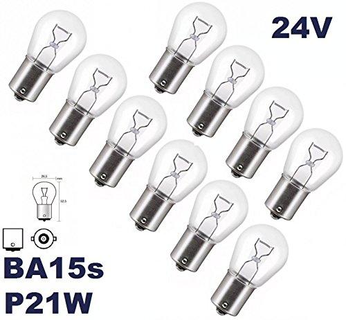 24 V –  Lot de 10 –  P 21 W –  BA15S –  24 V utilitaire camion É clairage –  Ampoule, culot en verre, ampoule, lampe navette, lampes. Avec ho