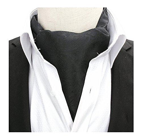 (Men Pure Black Silk Cravat Woven Ascot Hanky Neckties Best Gift Ideal for Father)