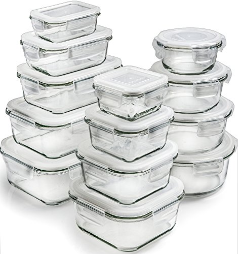 [26-Piece] Glass Storage Containers with Lids - Glass Food Storage Containers Airtight - Glass Containers With Lids - Glass Meal Prep Containers Glass Food Containers - Glass Lunch Containers