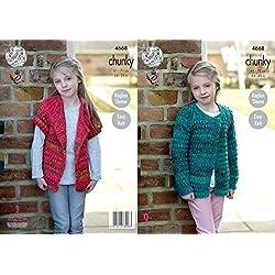 King Cole Girls Chunky Knitting Pattern Easy Knit Raglan Long or Short Sleeve Cardigans (4668)