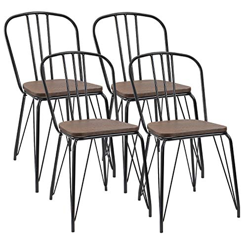 - Furmax Black Metal Kitchen Dining Chair Indoor-Outdoor Use Stackable Classic Trattoria Chair Chic Dining Bistro Cafe Side Metal Chairs